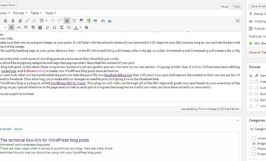 Technical Tips for WordPress Blog Posts